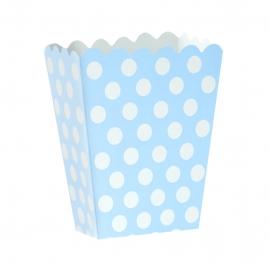 Mini Caja para Palomitas Azul con Lunares Blancos - Miles de Fiestas