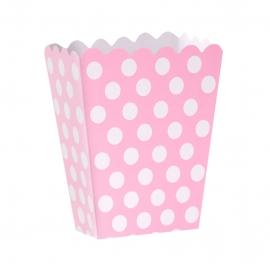 Mini Caja para Palomitas Rosa con Lunares Blancos - Miles de Fiestas