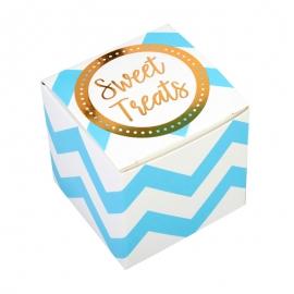 Mini Cajitas para Dulces Chevron Blancas y Azules