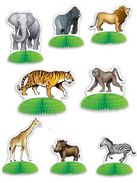 Mini centros de mesa safari de 8 piezas