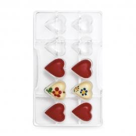 Molde policarbonato para chocolate corazones