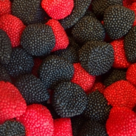 Moras de Gominola Rojas y Negras 1 Kg - Miles de Fiestas