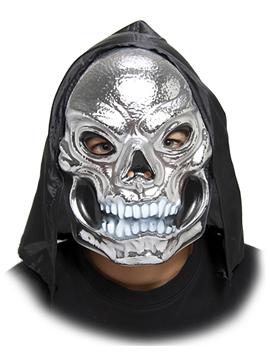 Máscara Calavera Plateada con Capucha