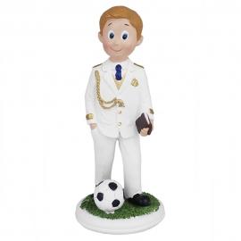 Figura Comunión Niño Rubio con Balón 14 cm