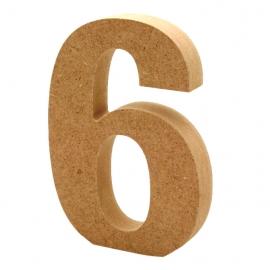 Número 6 de Madera 12cm