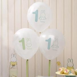 Pack de 8 globos 1 Año Baby Miffy