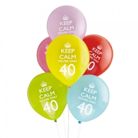 Pack 8 globos Keep Calm 40th