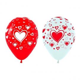 Pack de 10 globos Rojos y Blancos con Corazones