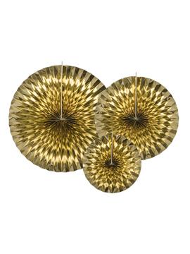 Pack de 3 Abanicos Color Dorado