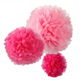 Pack de 3 pompones en tonos rosados