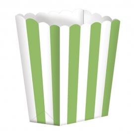 Pack de 5 cajitas para palomitas Verde y Blanco