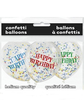 Set de 6 Globos Happy Birthday Brillante con Confeti