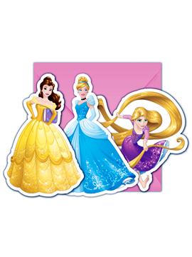 Juego de 6 Invitaciones Princesas Disney Modelo C