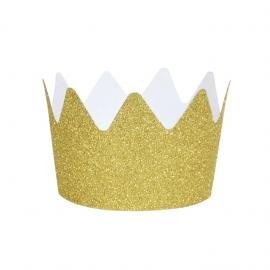 Pack de 8 Coronas de Purpurina Doradas