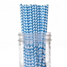 Set de 25 pajitas azul chevron