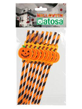 Pajitas con Calabaza Halloween 8 ud
