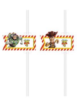 Juego de 4 Pajitas de Papel Toy Story