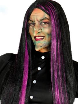 Peluca de bruja negra con mechas lilas