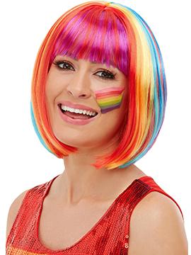 Peluca Corta con Flequillo Multicolor