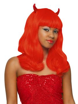 Peluca Diablesa Roja con Cuernos