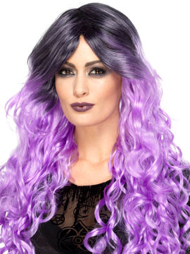 Peluca Gótica Lila Púrpura Larga