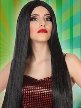 Peluca Larga Lisa Negra 60 cm