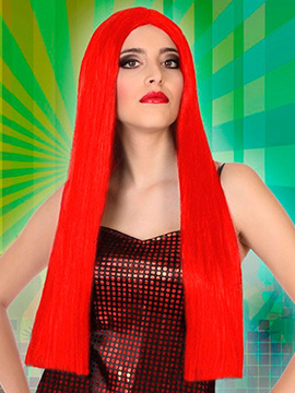 Peluca Larga Lisa Roja 60 cm
