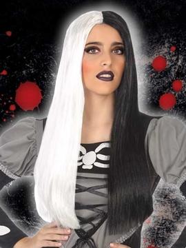 Peluca Lisa en Blanco y Negro