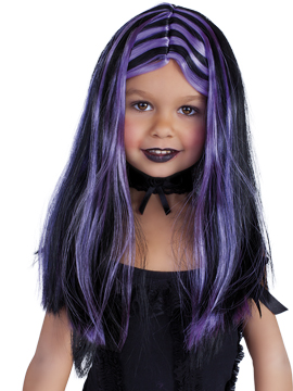 Peluca Negra con Mechas Lilas Infantil