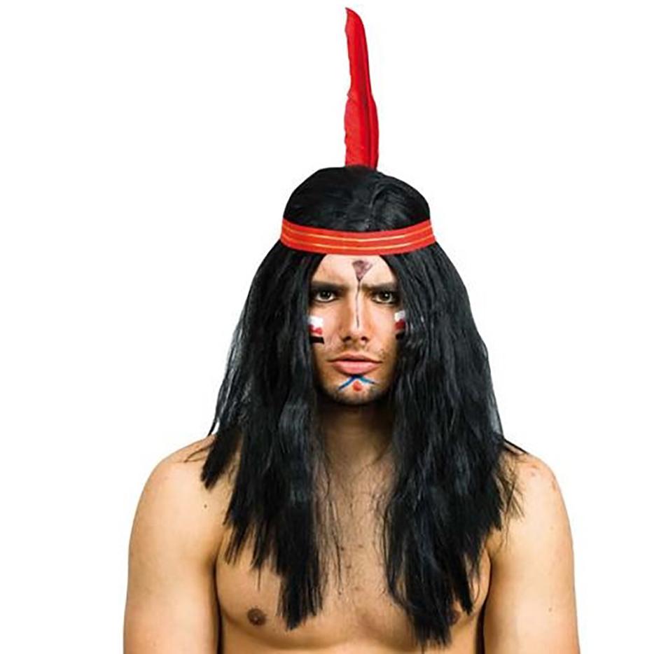 Peluca Negra Indio con Cinta y Pluma