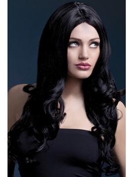 Peluca Negra Ondulada 66 cm