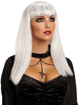Peluca Vampiresa Traviesa Blanca Adulto