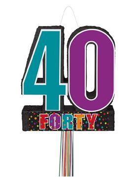 Piñata 40 cumpleaños de cartón de 53 cm