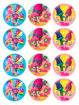 Juego de 12 Impresiones en Papel de Azúcar Trolls