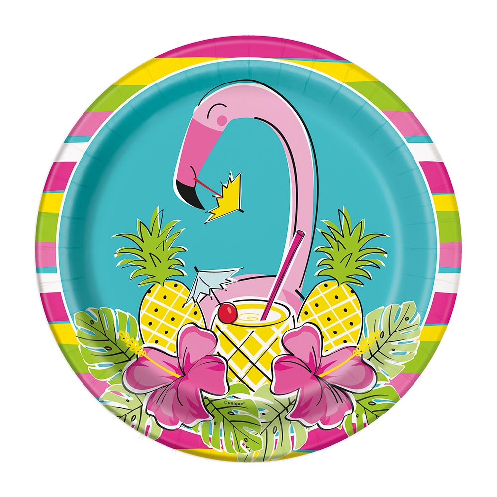 Juego de 8 Platos Flamingo y Piñas 22 cm