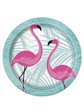 Juego 8 Platos de cartón Flamingo Rosa 22 cm