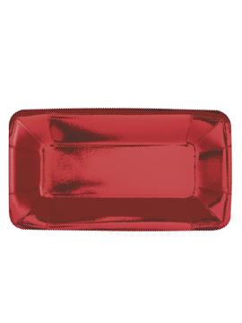 Set de 8 bandejas rojas de cartón de 23 cm