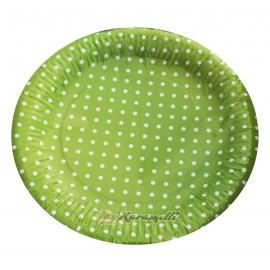 Juego de 10 platos de Papel Green Polkadot