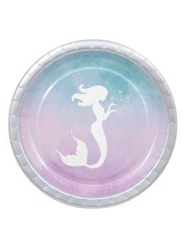 Juego de 8 Platos Sirena Azul y Rosa 23 cm
