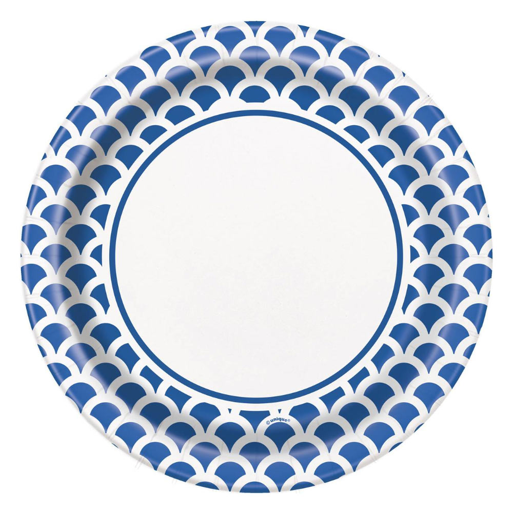 Platos Bordes Escamas Azul y Blanco