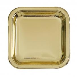 Platos de Papel Cuadrados Dorado 22 cm 8 ud