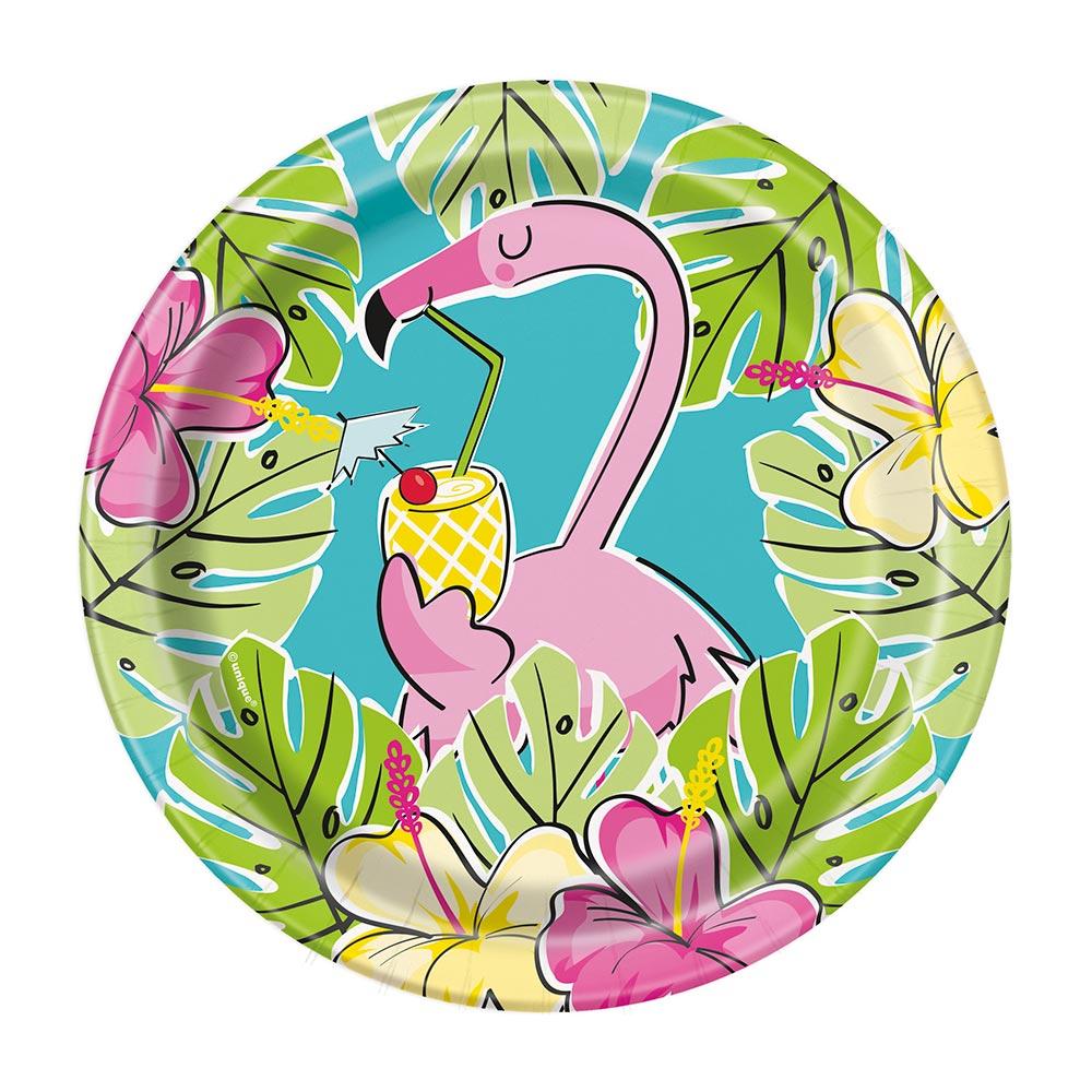 Juego de 8 Platos Flamingo y Piñas 17 cm
