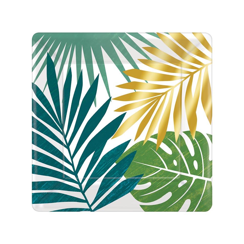 Juego 8 Platos Cuadrados Tropical 18 cm