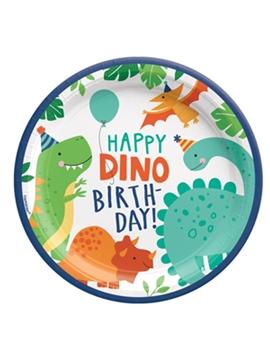 Juego de 8 Platos Dinosaurios Party 22 cm