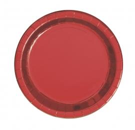 Platos de Papel Rojo Metalizado 17 cm 8 ud
