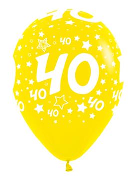 Pack de 10 globos 40 años en diferentes colores