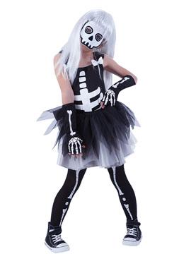 Disfraz Esqueleto con Tutú Blanco Infantil