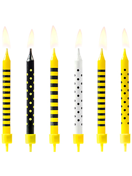 Juego de 6 Velas Amarillas, Negras y Blancas