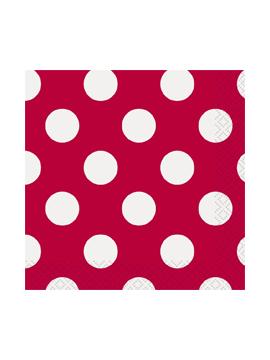 Servilletas Rojas con Lunares Blancos 33 cm