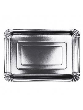Set 10 Bandejas de Cartón Plata 33 cm x 24 cm